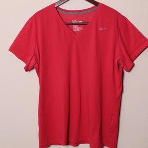 Womens V-Neck Pink Nike Dri-Fit Shirt 2X